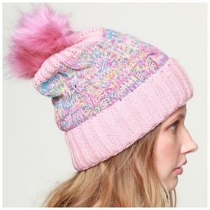 FUR LINED | Dusty pink faux fur pom beanie